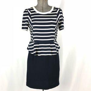 Psalter Blue and White Nautical Peplum Dress